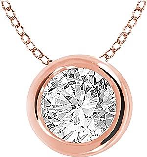 10k Gold Round Diamond Solitaire Pendant Necklace Bezel Set (0.33cttw, IJ, I1-I2) 18