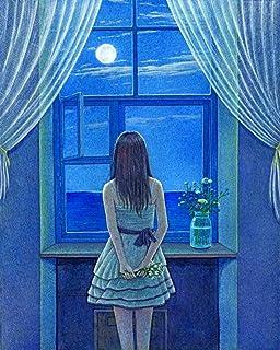 ZHIYYQ Gör-det-själv måla-efter siffror-kit, oljemålning den vackra kvinnan vid fönstret, vuxna barn nybörjare färg kanvas...
