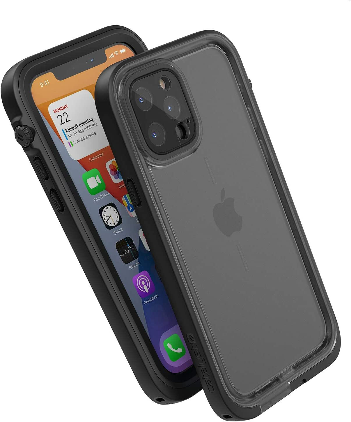 Catalyst 33ft Waterproof Case Designed for iPhone 12 Pro - Drop Proof 6.6ft, Clear Back, Compatible with Crux Accessories Cases - Stealth Black