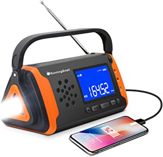 Emergency NOAA Weather Crank Solar Powered Portable Radio with 2000mAh Battery Power for Cell Phone, Bright Flashlight for...