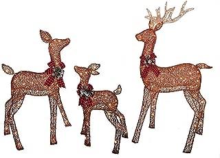 Christmas Reindeer Family 3 Piece Set, Glittering Brown Buck, Doe and Baby Deer Fawn Patio Sculpture for Outdoor Winter Holiday Lawn Decoration Yard Art Santas Reindeer