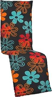beo Cojín para Silla de jardín, Color Antracita, Serie Barcelona M803, Estampado de Flores, 171 cm x 50 cm x 6 cm