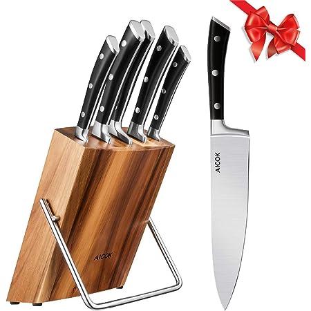Aicok Ensemble de couteaux, Couteaux de chef avec bloc en bois, Set de couteaux professionnels, Lot de couteaux en acier inoxydable à haute teneur avec support en bois, 6 pièces
