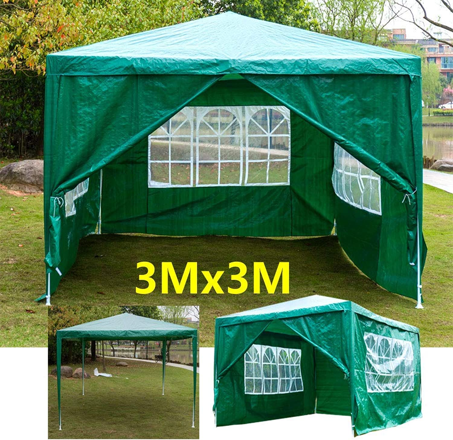 3x3 Metres Gazebo Waterproof Outdoor Tent Marquee Awning Canopy 4 Side Walls 3 with Windows 1 Door with Zip Easy Assemble and Remove, Green