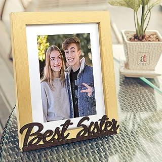 Art Street Best Sister Customize Table Photo Frame for Rakshabandhan Gift, (Photo Size 6X8 Inchs), Rakhi Gift, Photo Gift/Birthday Gift/Christmas Gift- Brown & Beige