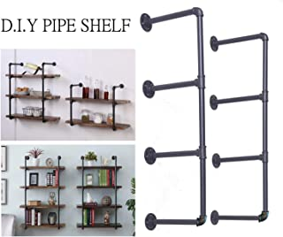 Diwhy DIY Industrial Black Pipe Bookshelf Wall Ceiling Mounted Open Bookshelf Parts Bracket Kit DIY Project (2 pcs 4 Tier Pipe Shelf) (Renewed)