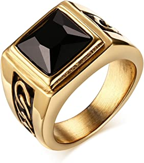 Mealguet Jewelry Men's Handsome Vintage Black Square Agate Gemstone Stainless Steel Ring Band, Silver