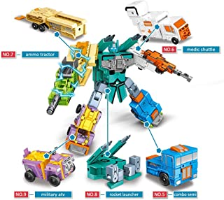 STEM Numbers Transform Robot Toy with Mathematical Symbols as Weapon, Figure 5 6 7 8 9 Changes into Different Amor Vehicle – and All Can Build A Big Action Fighter Suitable for Preschool Kids Ages 3+