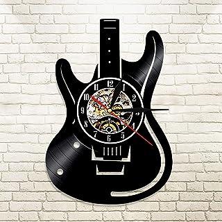 مسجل فينيل LED ساعة حائط بتصميم عصري موسيقى موضوع الغيتار ساعة حائط ساعة حائط ديكور منزلي أدوات موسيقية هدية للموسيقى الحب