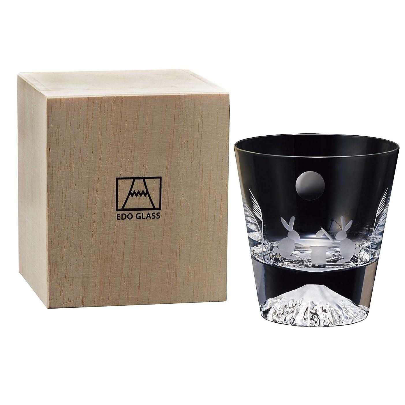 皮肉なパニック気候田島硝子 江戸硝子 富士山 ロックグラス 透明 木箱入 季節柄 (月とうさぎ)