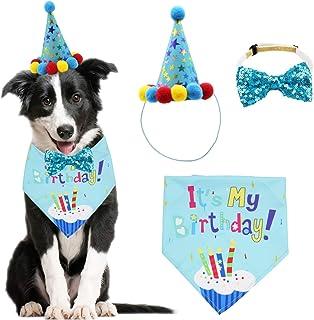 ADOGGYGO Dog Birthday Bandana Scarf and Dog Girl Boy Birthday Party Hat with Cute Dog Bow Tie Collar for Small Medium Dog Pet