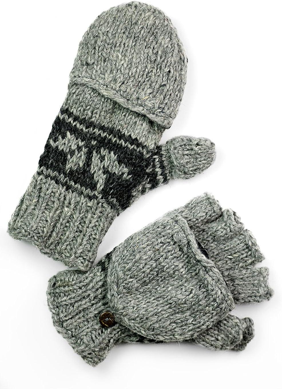 TCG Men's Hand Knit Wool Snowflake Glittens - Pewter & Charcoal