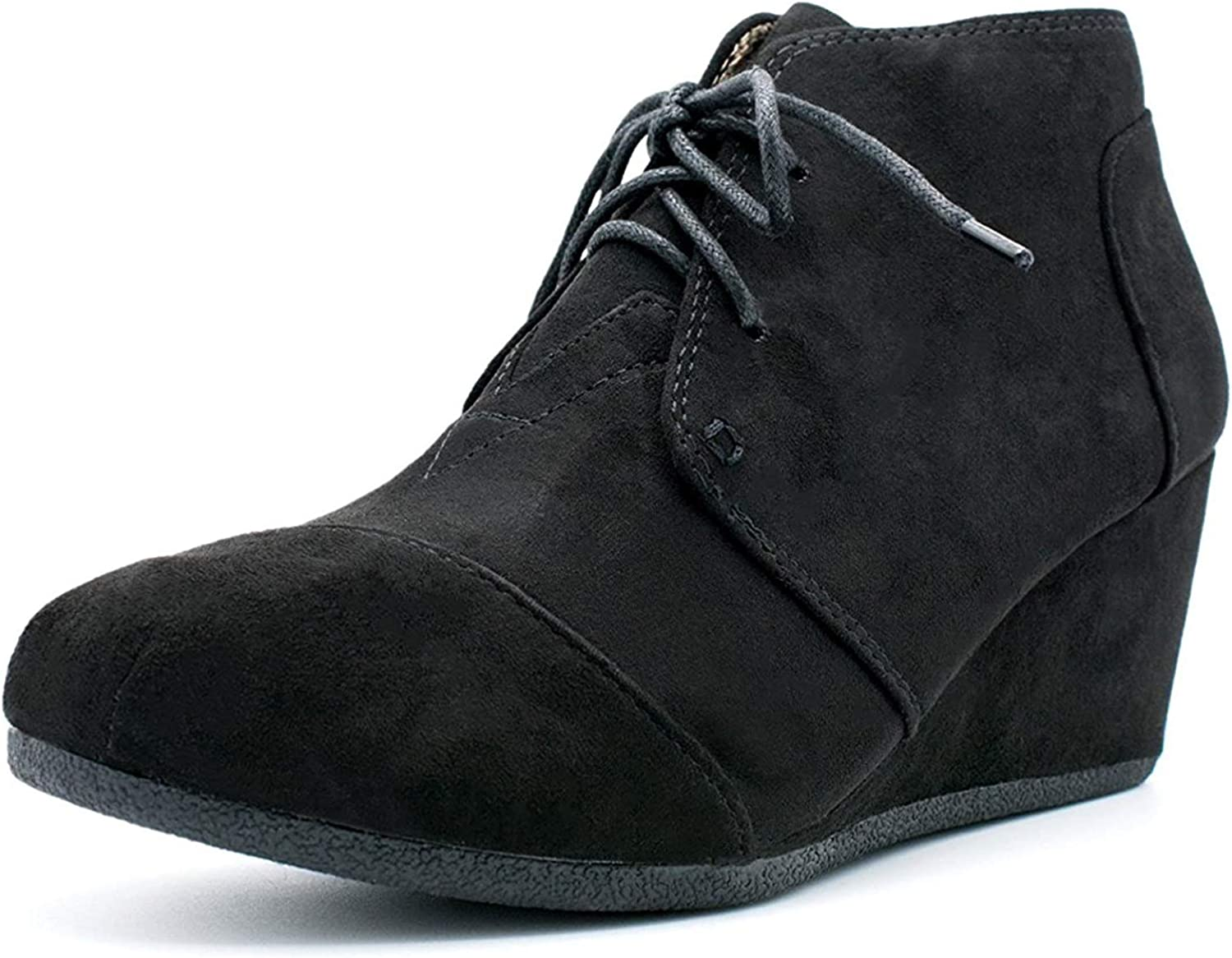 Top Moda Forever Link Womens Patricia-01 Lace Up Faux Suede Ankle Wedge Booties,9 B(M) US,Black