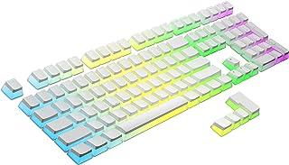 HK Gaming 108 Double Shot PBT Pudding Keycaps Keyset for Mechanical Gaming Keyboard MX Switches (White)