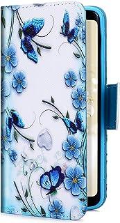 Uposao Telefoonhoes voor Samsung Galaxy S7 Edge, lederen tas beschermhoes Samsung Galaxy S7 Edge blauw, bloemen, vlinder