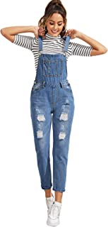 Milumia Womens Casual Bib Straight Leg Denim Jean Overall Jumpsuit with Pocket