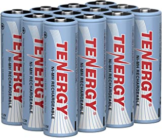 Tenergy AA Rechargeable Battery, High Capacity 2500mAh NiMH AA Battery, 1.2V Double A Batteries 12-Pack
