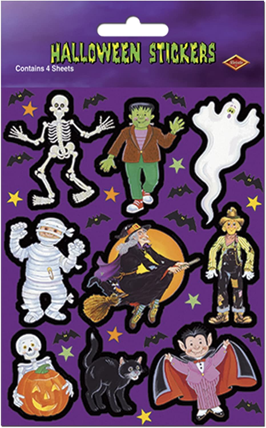 Beistle Cute Monster Stickers, 43 4Inch by 71 2Inch Sheet