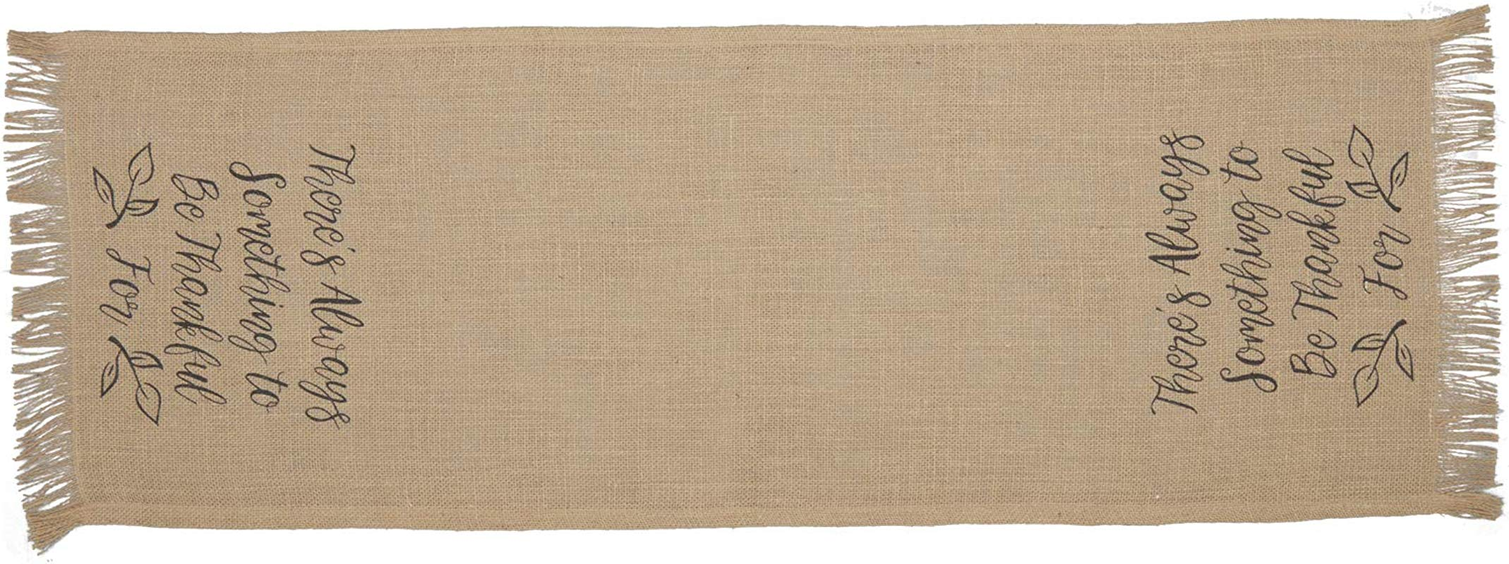 VHC Brands 56715 Jute Burlap Natural Thankful Text Rustic Decor Stenciled 13x36 Runner Tan