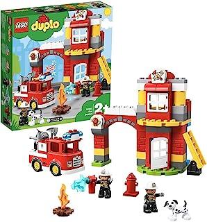 LEGO 10903 DUPLO Town Brandweerkazerne Speelgoed met Licht & Geluid, Brandweerauto en 2 Brandweermanfiguren voor Kinderen ...