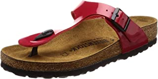 Birkenstock Unisex-Adult Gizeh Birko-Flor Style-no. 743191 Thong Varnish Regular Width Tango Red Patent Suede Sandals 41 M EU 41 (Normale)