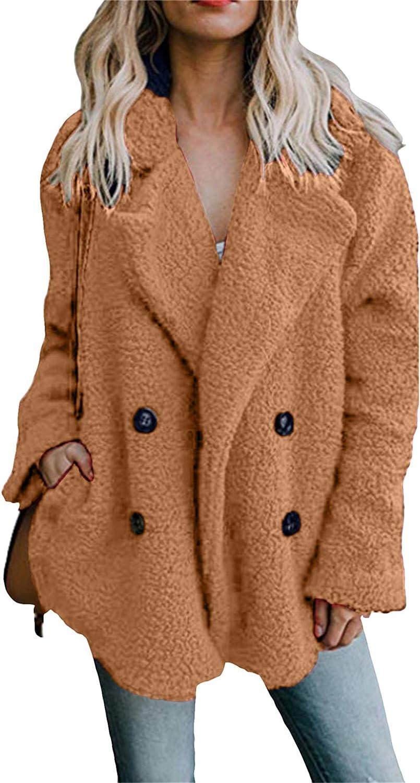 OMZIN Warm Fluffy Sherpa Coat for Women Fleece Lapel Shearling Jacket