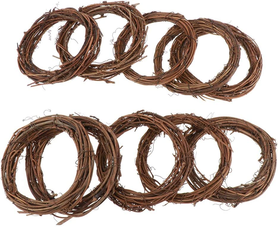 10Pcs Round Amuzocity 3//5//10Pcs Grapevine Wreath Natural Rattan Coloring Wreaths Handmade DIY Crafts Wall Decor Approximately 4-5inch
