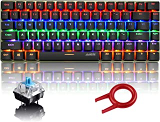 Ajazz AK33 Wired Mechanical Gaming Keyboard, Rainbow LED Backlit USB Wired 82 Keys E-Sport Gamer Computer Keypad with Anti-ghosting Keys for Playing Games and Office Typists
