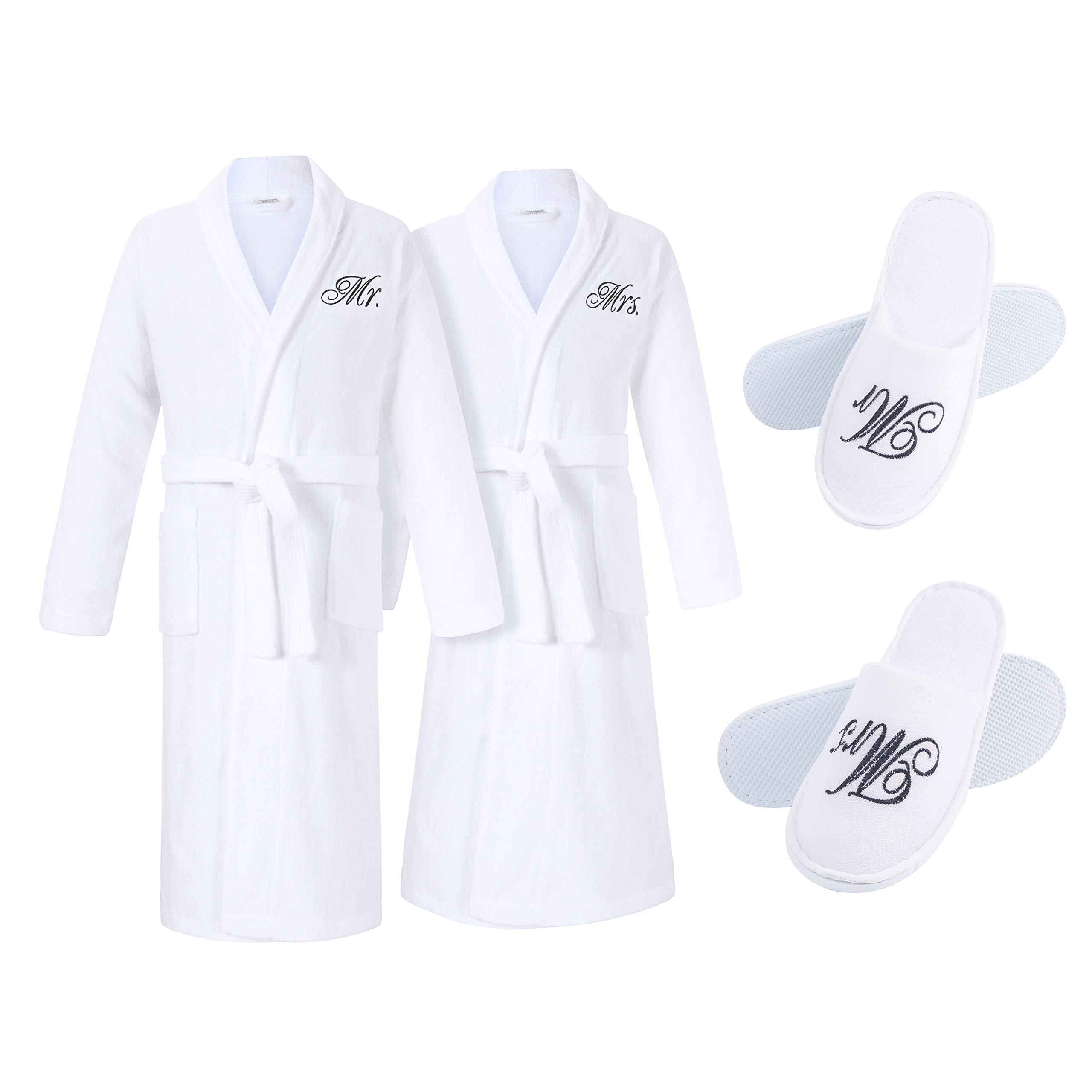 Wedding Robe and Slippers Matching Set