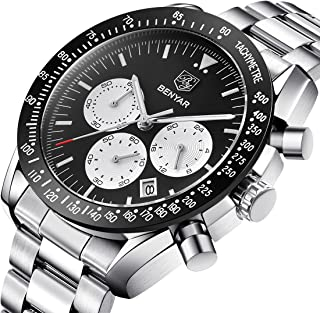 Men's Stainless Steel Watches Sport Business Chronograph Wrist Watches for Men