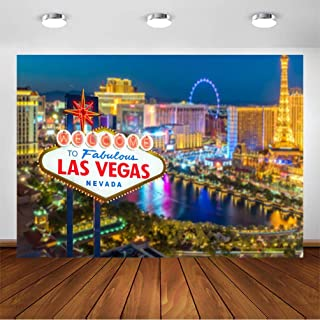 COMOPHOTO Las Vegas Night Photography Backdrop City Street Sign Casino Party Decorations Background for Parties 7x5ft Vinyl Printing Photo Backdrop Supplies