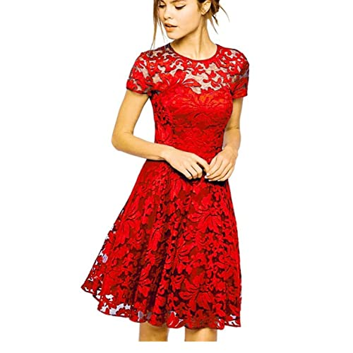 83ce5964db Measoul Womens Round Neck Short Sleeve Pleated Lace Mini Party Evening  Cocktail Dress