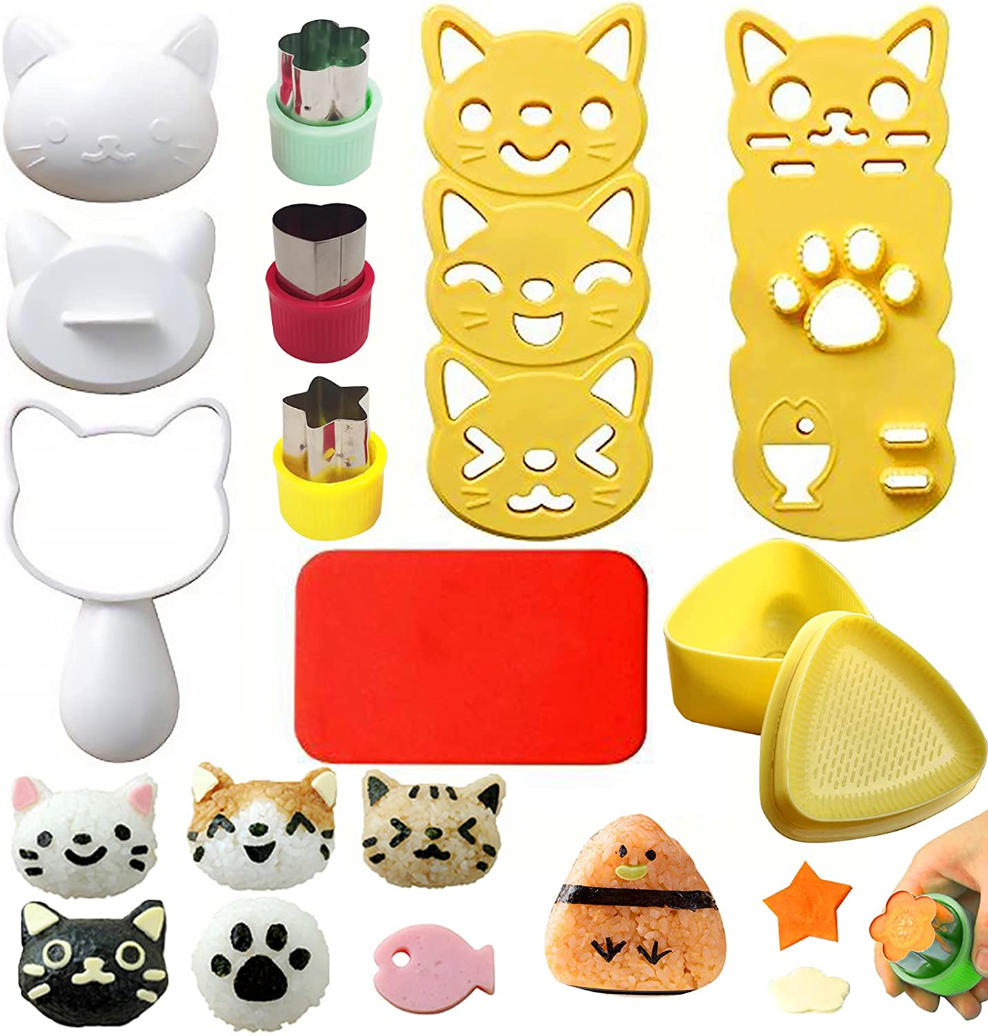 Cute Cat Rice Ball Molds 6 Sets Sushi Molds Bento Accessories Kits with 3PCS Vegetable Fruit Cutter Shapes and 1PC Gimbap Mold Triangle for Nori Rice Making DIY Bento Box Picnic Tools