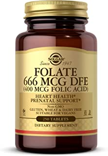 Solgar Folate 666 mcg DFE (Folic Acid 400 mcg), 250 Tablets - Heart Health - Prenatal Support - Non-GMO, Vegan, Gluten Fre...