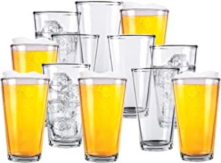 Glass Beer Cups – Pack of 12 – Clear Glass Bar Tumblers, 1 Pint (16oz) – Premium Quality Glass Cups, Great for Restaurant...