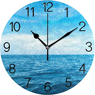 Chovy 掛け時計 置き時計 北欧 おしゃれ かわいい サイレント 連続秒針 壁掛け時計 インテリア 海 ブルー 可愛い 自然風景 かわいい 部屋装飾 子供部屋 プレゼント