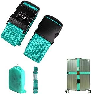 CHMETE Travel Suitcase Belts/Luggage Straps, 2pcs-Mint Green