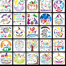 32 Pieces Halloween Plastic Painting Stencils 5 Inch Halloween Templates Reusable Halloween Pumpkin Stencils with 2 Pieces...