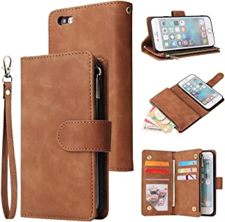 For iPhone 6 & 6s Multifunctional Retro Frosted Horizontal Flip Leather Case with Card Slot & Holder & Zipper Wallet & Photo Frame & Lanyard New (Black) MengT (Color : Brown)