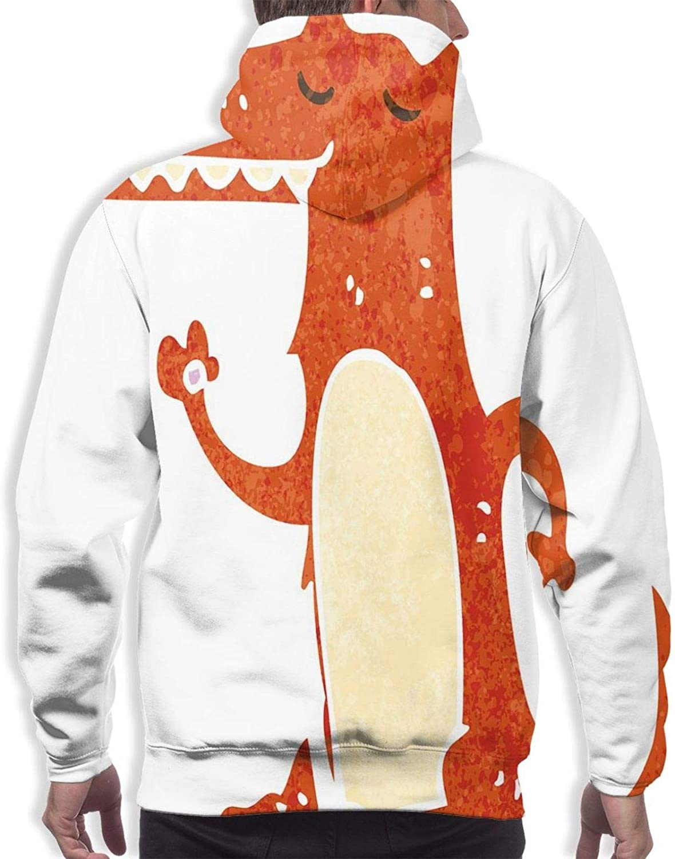 Men's Hoodies Sweatshirts,Retro Style Cartoon Hand Drawn Funny Mascot Watercolor Grunge Artwork