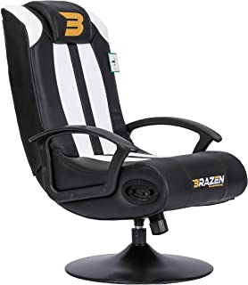 BraZen Stag Gaming Chair Black & White-Suitable for PC, Xbox, Nintendo, Playstation-2.1 Bluetooth with Surround Sound-Comf...