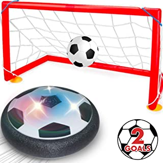 Hover Soccer Ball Indoor Hover Ball for Kids - Set of Football Disk Toy, 2 Goals & Inflatable Ball w/ Inflator, Soccer Game Gift w/ LED Lights – Indoor Outdoor Sports Soccer Toys for Boys and Girls