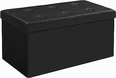 Songmics Pouf Coffre de Rangement gain de place Boîte Tabouret Pliable chargement max. de 300 kg noir 76 x 38 x 38 cm LSF105