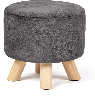 Edeco Modern Round Ottoman Foot Rest Stool Seat Pouf Ottoman With Linen Fabric And Non Skid Wooden Legs Beige Kitchen Dining