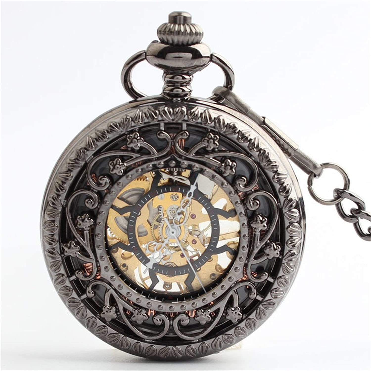 Pocket Watch Exquisite Carved Retro Pocket Watch Boutique Hollow Mechanical Pocket Watch with Metal Chain