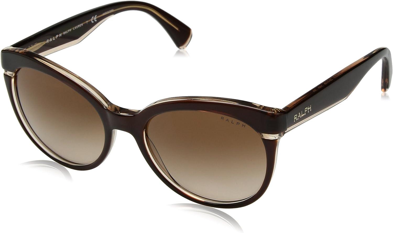 Ralph by Ralph Lauren Women's Plastic Woman Polarized Cateye Sunglasses, Black Crystal, 55 mm