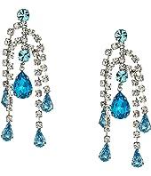 5 Row Crystal with Aqua Drop Direct Post Earrings