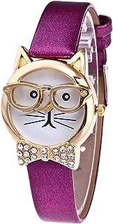 Womens Glasses Cat Watch,POTO JY-10 2017 New Cute Glasses Cat Analog Quartz Watch Gift