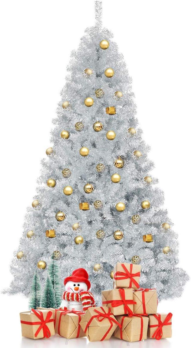 Goplus albero di natale argento, abete artificiale con decorazioni argento, tecnologia elettroplaccata