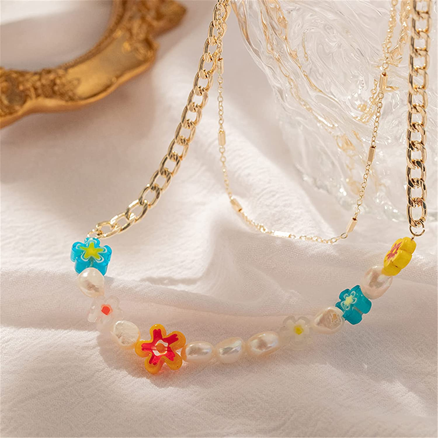 Layered Colorful Chunky Link Chain Flower Pendant Faux Pearl Beaded Necklace Set for Women Teen Girl Handmade Glass Beads Seed Choker Collar Necklace Bohemian Summer Beach Jewelry